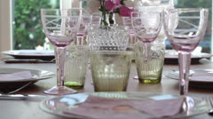 Table prepared for lunch Stock Footage