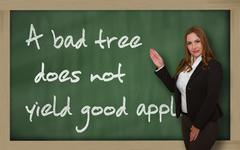 Stock Photo of teacher showing a bad tree does not yield good apples on blackboard