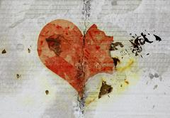 Burned and tear heart on paper background Stock Illustration