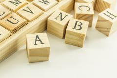 Wood alphabet cube Stock Photos