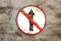 Not go straight rusty sign Stock Illustration
