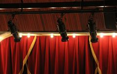 Theater lights with curtain - stock photo