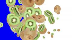 Falling Kiwis (with alpha channel) Stock Footage
