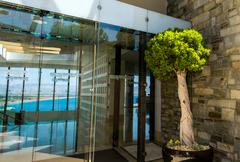 Entrance to hotel - stock photo