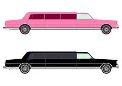 Extra long limousine set Stock Illustration