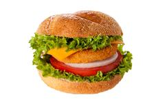 fishburger isolated - stock photo