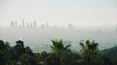 Los Angeles city with Smog and palm trees Stock Footage