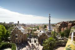 parc guell, barcelona spain - stock photo