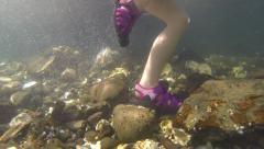 Little Feet Underwater Ocean Stock Footage