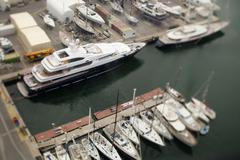 yacht shot from above - stock photo