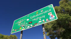 Area 51 ET Highway Sign 01 Nevada USA Stock Footage