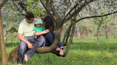 Sweet baby with parents sitting on blossom branch tree, playing with baby sole Stock Footage