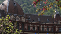 Brasov , Romania prefecture and blossom trees Stock Footage
