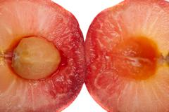 Splitted cherry macro shot Stock Photos