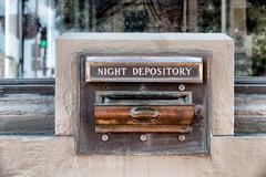 Night deposit tray of abandoned back Stock Photos