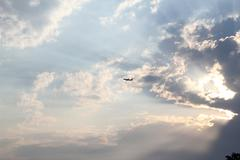 Colorful Dramatic Clouds With Plane Stock Photos