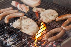 flaming barbecue - stock photo