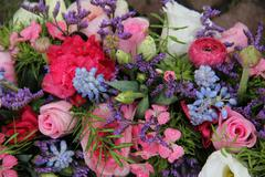 Wedding arrangement in blue and pink Stock Photos