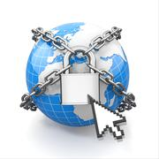 internet security comcept. earth and lock. - stock illustration