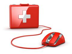 Online first aid. mose and medical kit. Stock Illustration