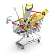 E-commerce. tools and shopping cart Stock Illustration