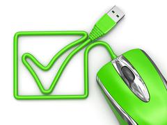 Online checklist. computer mouse on white isolated background. Stock Illustration