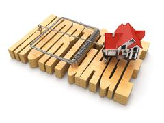 concept of mortgage. house and mousetrap. - stock illustration