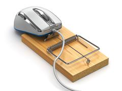 concept of internet security. computer mouse and mousetrap - stock illustration