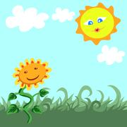 Kesä maisema auringonkukan ja hymyilevä aurinko Piirros