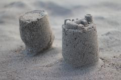 Sandcastle on Beach - stock photo