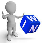 Stock Illustration of win dice shows success winner succeed