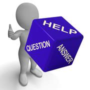 Stock Illustration of help question answer dice showing knowledge and assistance