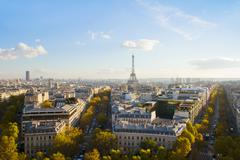 eiffel tour and paris skyline - stock photo