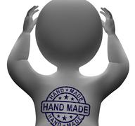 hand made stamp on man shows original handmade - stock illustration