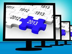 2013 on monitors shows future year Stock Illustration