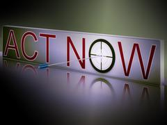 Act now shows motivation to respond fast Stock Illustration