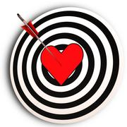 Heart target means i love you achieved Stock Illustration