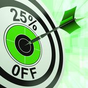 25 percent off shows percentage reduction on price Stock Illustration