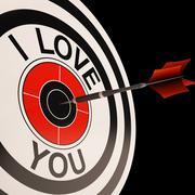I love you target shows valentines affection Stock Illustration