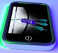 2014 arrows on smartphone shows future plans Stock Illustration