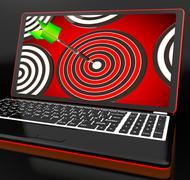 Stock Illustration of target hit on laptop shows accuracy