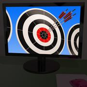 Stock Illustration of arrows on monitor showing efficiency