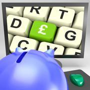 pound key on monitor showing britain prosperity - stock illustration
