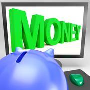 Stock Illustration of money on monitor showing prosperity