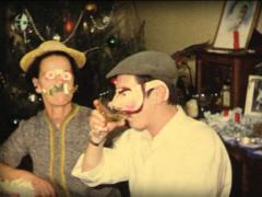 8MM Christmas family dinner with mask - stock footage
