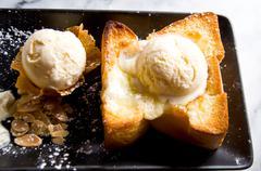 toast and ice cream - stock photo