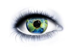 Planet is in the eye Stock Illustration