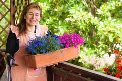 garden lady - stock photo