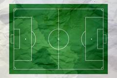 wet and wrinkled soccer field paper - stock illustration