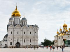 Cathedral square of moscow kremlin Stock Photos